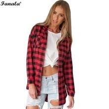 Blusas Femininas Casual Women Shirt Plaid Print Loose Irregular Blouse Long SleeveTurn Down Collar Pockets Asymmetric Top u2
