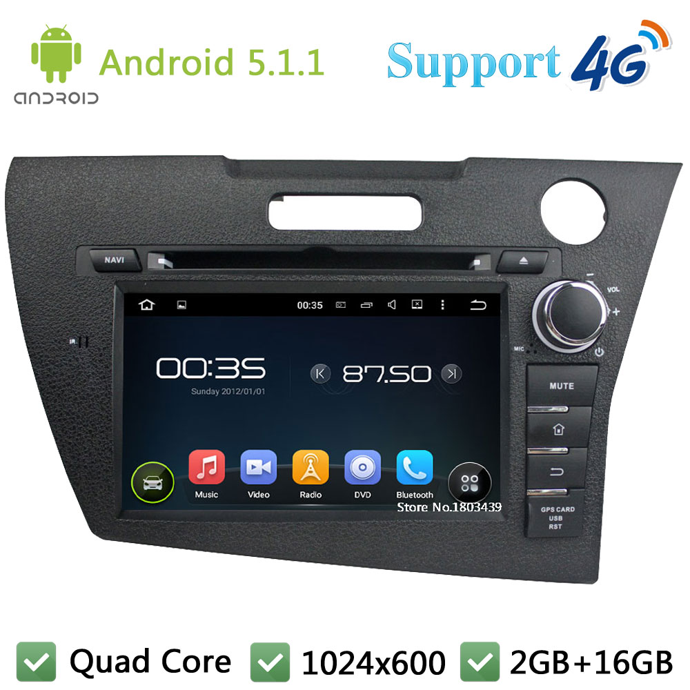 Quad Core HD 1024*600 Android 5.1.1 Car DVD Player Radio Stereo PC DAB+ 3G/4G GPS Map For Honda CRZ 2012-2014 Right Hand Driving