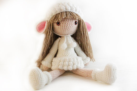 Amigurumi Doll Patterns : Crochet amigurumi doll girls stuffed doll toy baby rettle shower
