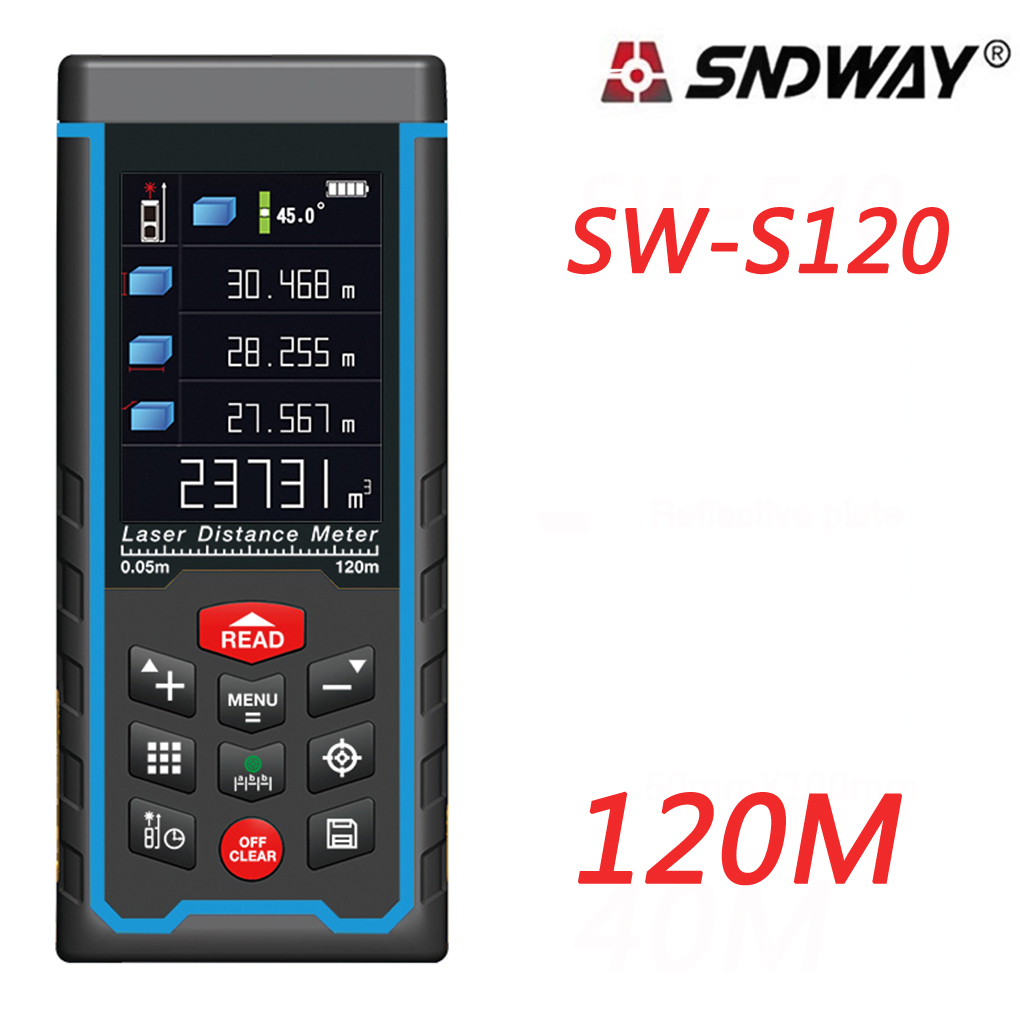 SNDWAY SW-S120 SW-S80 Laser Distance Meter Range Finder Outdoor 80m 120m W-camera Rechargeable Color LCD Measure Tools