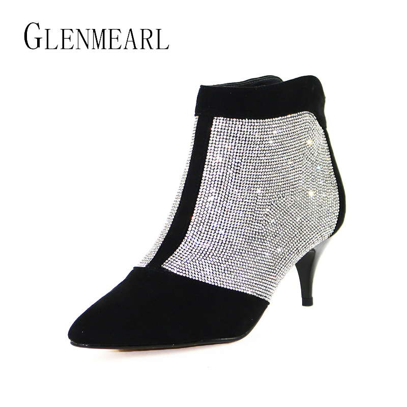 Ankle Women Boots Winter Shoes Warm Plus Size Rhinestones High Heels Shoes Woman Zip Pointed Toe