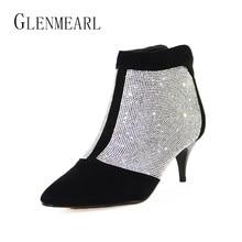 73bafb17b Botas de tornozelo Mulheres Sapatos de Inverno Quente Plus Size Strass  Sapatos de Salto Alto Mulher