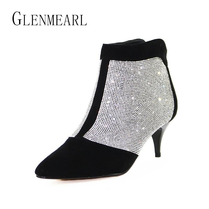 Botines para mujer zapatos de invierno cálidos de talla grande diamantes de imitación tacones altos zapatos de mujer con cremallera puntiagudos botas cortas Sexy para las mujeres 38-in Botas hasta el tobillo from zapatos    1