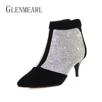 Brand Ankle Women Boots Winter Warm Plus Size Rhinestones High Heel Shoes Woman Zip Pointed Toe