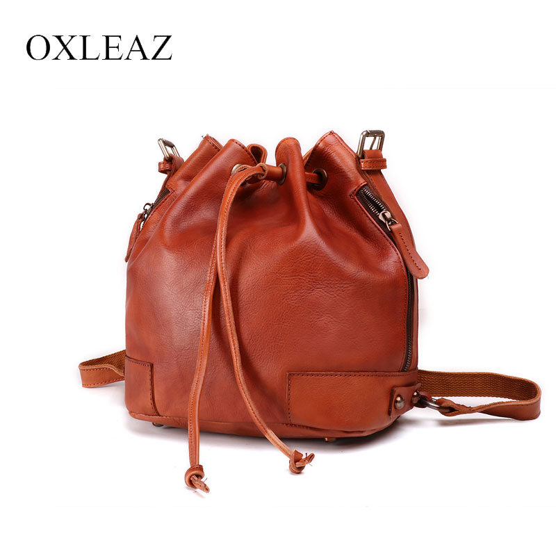OXLEAZ Vintage Drawstring Hand Bag Women Bucket Bag Genuine Leather Shoulder Bags Handbag Ladies Crossbody Messenger
