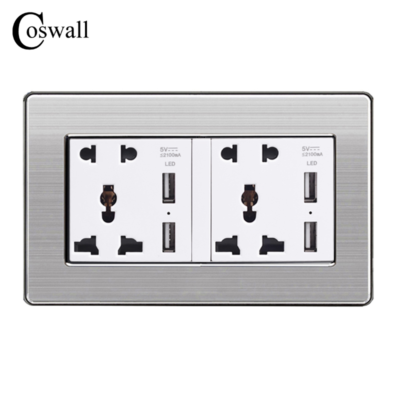 COSWALL Wall Socket Dual Universal 5 Hole Power Outlet With 4 USB Smart Induction Charger Port for Mobile Stainless Steel Panel coswall 146 uk universal double socket with 4 usb charge port for mobile output 5v 2 1ma wall power outlet stainless steel panel