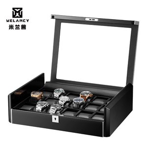 Image 1 - תיבת יוקרה שחור פחמן סיבי משטח רך גמיש שעון כריות עץ מתנת תיבת שעון