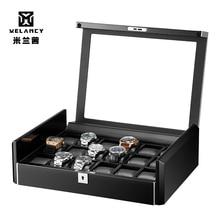 Caja de lujo negro fibra de carbono Superficie suave flexible reloj almohadas madera regalo caja de reloj