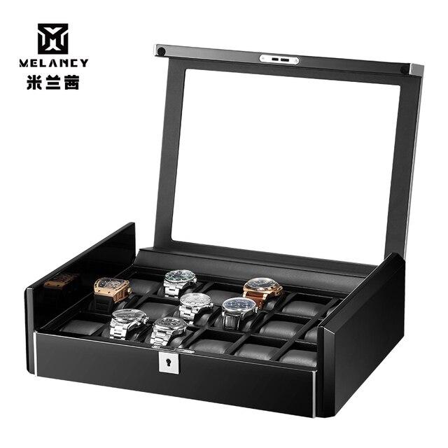 Kutusu lüks siyah karbon fiber yüzey yumuşak esnek izle yastıklar ahşap hediye kutusu izle