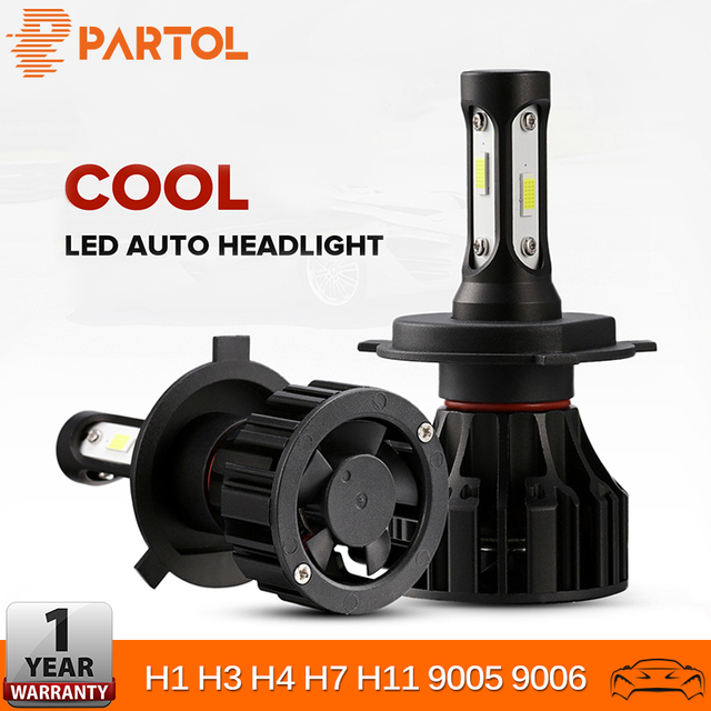 Partol H4 H7 H11 H1 9005 9006 H3 Car LED Fog Light Headlight Bulbs Hi Lo Beam 72W 8000LM Automobile Headlamp LED Light 6500K 12V