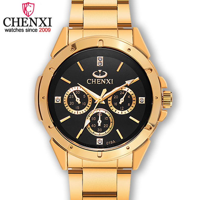 Prix pour Chenxi hommes de quartz top marques de luxe homme d'or en acier inoxydable horloge montres à quartz élégant mâle montre étanche
