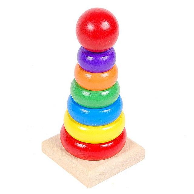 Nieuwe Houten Stackle Speelgoed Regenboog Toren Kids Baby Speelgoed
