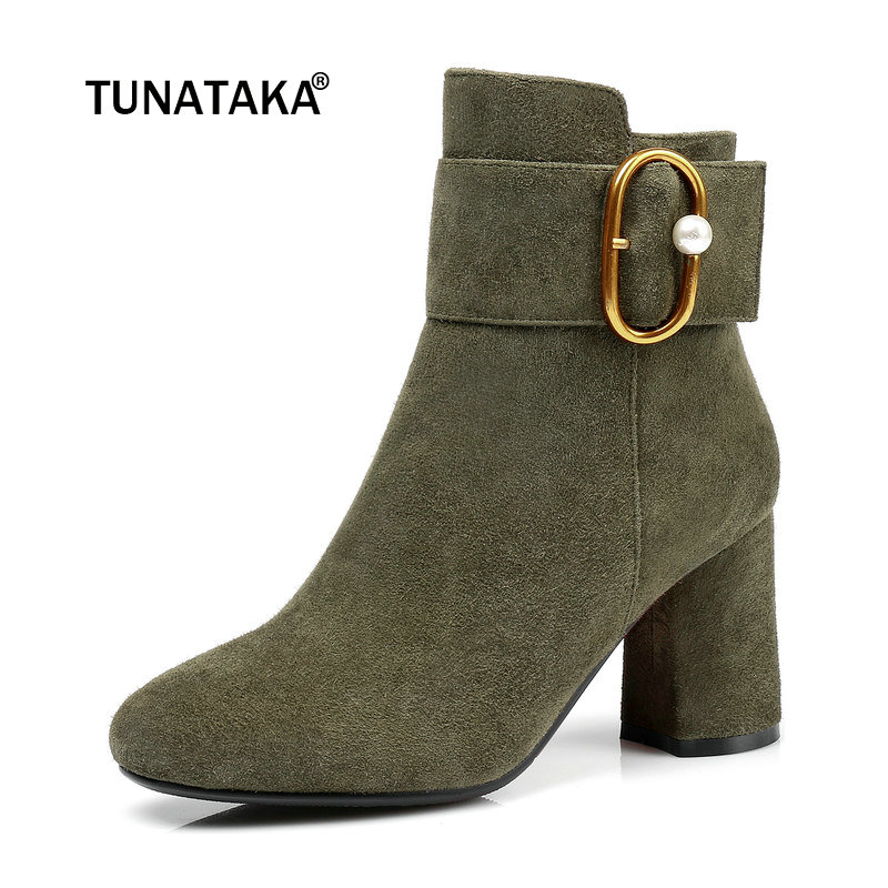 Suede Comfort Square Heel Woman Winter Ankle Boots Fashion Buckle Zipper Dress Shoes Woman Black Amry Green active hooded design elastic tracksuit in amry green