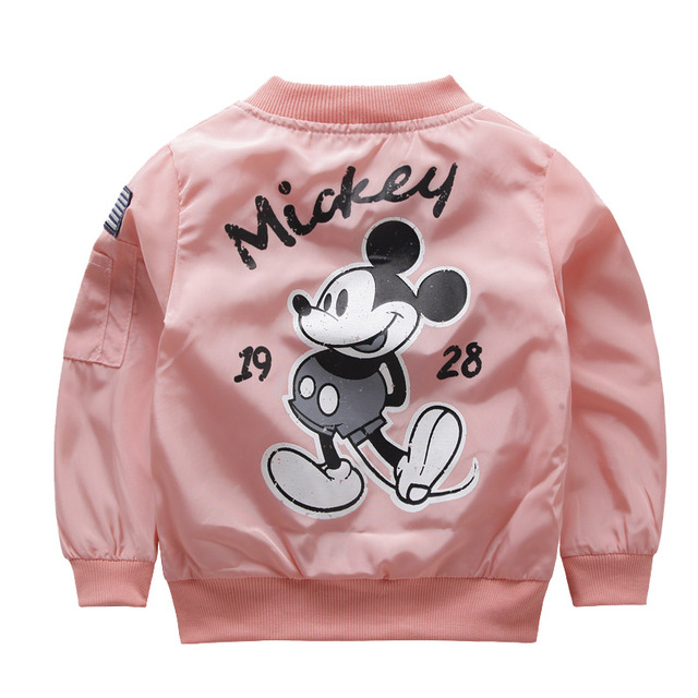 Mickey Jacket New Arrival Clothing For Baby Girls Boys Coat Cartoon Printed Flight Jacket Autumn Kids Outerwear Children Clothes   HOTSHOPDIRECT