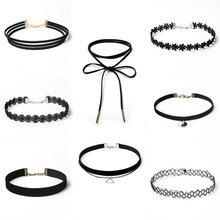Lace jewelry 8Pcs Collares Trendy Stretch Tattoo chocker Velvet Punk Gothic Elastic Necklaces set Women Black Choker Necklace