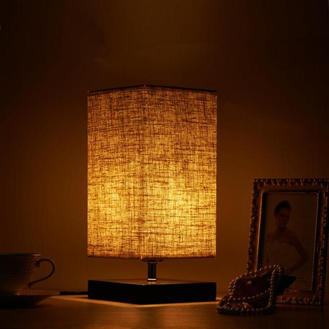 Wood Table Lamp Retro Minimalist Solid Fabric Shade Relax Lighting For Contemporary Living Room