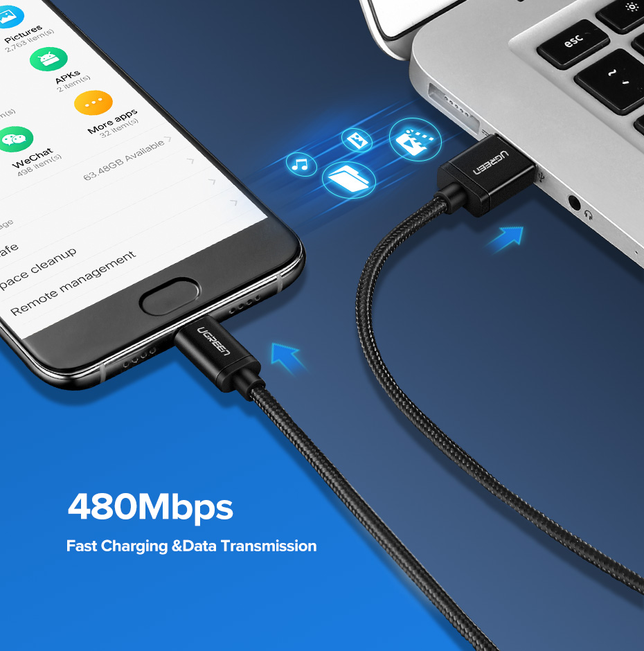 Ugreen USB Type C Cable And Mobile Phone Charging Cable For Fast Charge 9