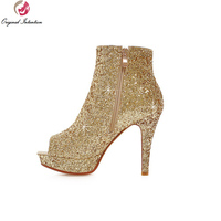 Original Intention Popular Women Ankle Boots Glitter Peep Toe Thin Heels Boots Black White Gold Silver Shoes Woman Size 4 10.5