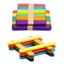 Цветной деревянных палочек для фруктового мороженного натуральные деревянные для мороженого палочки детская игра Сделай Сам diy-творчества искусство мороженое Инструменты для тортов