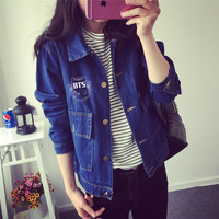 Kpop BTS Women Bangtan School Children New Cowboy Blue Letters Printed Jacket Spring Autumn Denim Loose