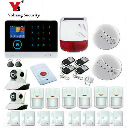 Yobang Security Touch Keypad WIFI GSM Security Burglar Alarm System APP Control IP Camera Solar Power Siren Smoke Fire Sensor yobang security wireless home alarm wifi app control gsm sms burglar security alarm system outdoor ip camera solar power siren