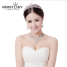 New Sliver Plated Rhinestone Crystal Necklace+Earring+crown 3pcs Jewelry Set Bridal Wedding Sets  недорого