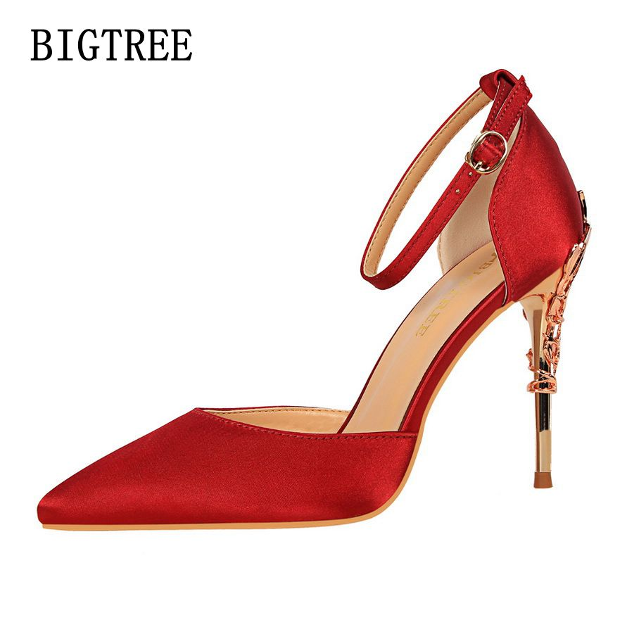 New Spring Summer Women Pumps Sweet Sexy Thin Female High Heels Sandals Ladies Fashion Pointed Silk Metal Flower Dress shoes new 2017 spring summer women shoes pointed toe high quality brand fashion womens flats ladies plus size 41 sweet flock t179