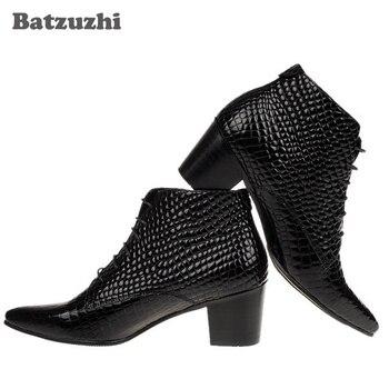 Fashion British Men boots Genuine Leather Ankle boots 6.5 CM High Heels Lace-up Black Business Dress Boots Men zapatos de hombre