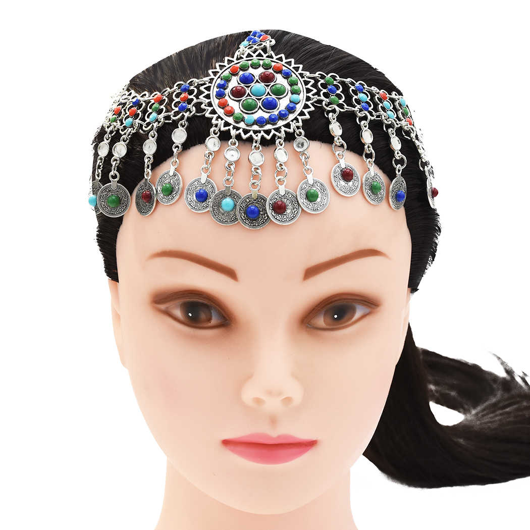 Indian Coin Bead Tassel Belly Dance Head Chain Headband Afghan Earrings Bracelet Bohemian Ethnic Tribal Hair Accessories Jewelry