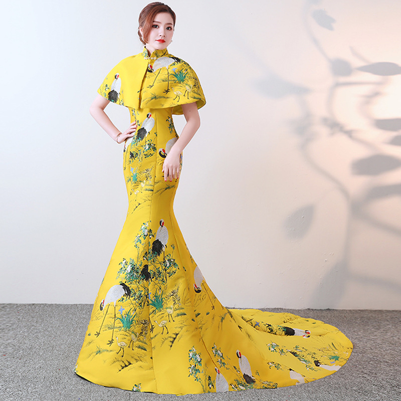 Yellow Trailing Luxury Oriental Evening Dress Chinese Embroidery Cheongsam Sexy Mermaid Strapless Backless Wedding Party Dresses