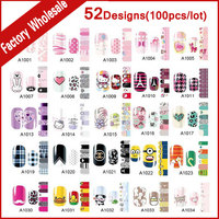 52Designs (100pcs) Self adhesive Nail Art Sticker Wraps Cartoon Solid Full Cover Nail Patch Foil Decals DIY Nail Beauty Supplies