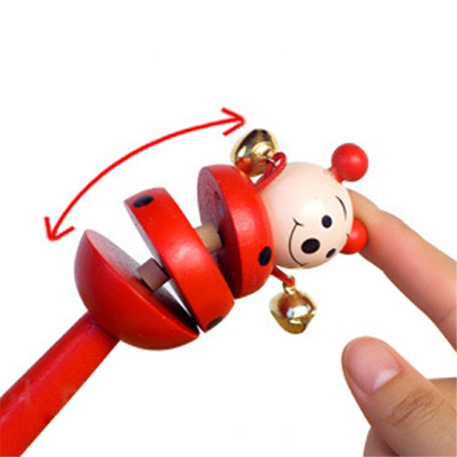 16CM Colorful Wooden Rattle Children Toys Random Color Bell Shaker Stick Toy Cartoon Animal Baby Children's Educational Toys P0 3