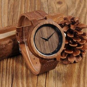 Image 5 - BOBO BIRD WD22 Zebra Wood Watch Men Grain Leather Band Scale Circle Brand Designer Quartz Watches for Men Women in Wooden Box