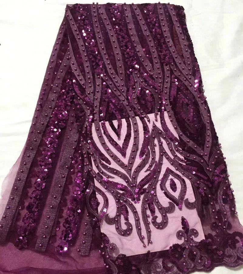 Newest Dark purple African Beaded Lace Fabric Fashion Embroidered Laces Fabric with sequin High Quality French Tulle Lace FabricNewest Dark purple African Beaded Lace Fabric Fashion Embroidered Laces Fabric with sequin High Quality French Tulle Lace Fabric