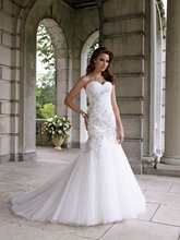 11-19 Beautiful Sweetheat Tulle With Lace Mermaid Wedding Dresses Designer