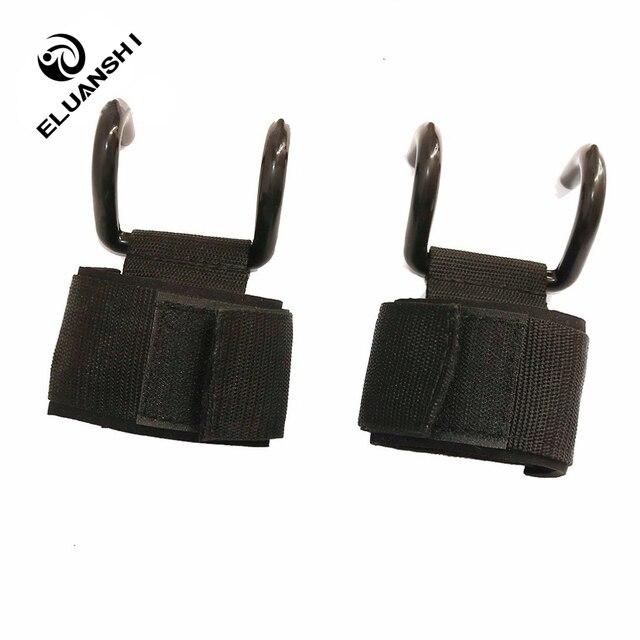 ELUANSHI ajustable fuerte gancho de acero correas de elevación de peso entrenamiento gimnasio Fitness negro correas de elevación