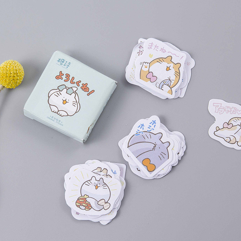 45pcs/set Creative cute cat Box Sticker DIY Mail notes/hand accounts/convenient For car Laptop Bicycle Notebook Stickers