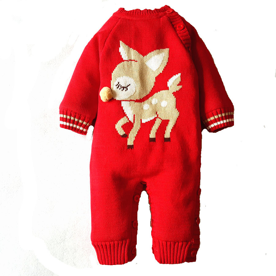Baby Rompers 2017 Fashion Winter Thick Warm Clothes Newborn Infant Boys Girls Cotton Knitted Sweater Christmas Outwear christmas newborn cashmere baby rompers infant clothing winter warm thicken cotton baby jumpsuit long sleeve boys girls sweater
