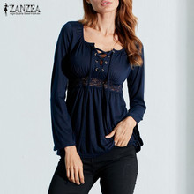 Осенние сексуальные блузки ZANZEA для женщин, v-образный вырез, длинный рукав, кружева, сплайсинг, одноцветные блузы, топы, повседневные, плюс размер, рубашки более размера d