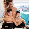 2018 New Spring Autumn Mom Daughter Family Match Clothes Off Shoulder Long Sleeve Knitting Sweater Pullover