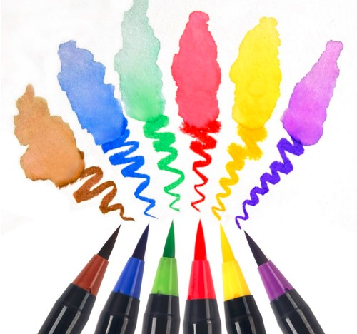 20 Color Set Writing Brush Soft Pen Water Color Art Marker Pen Effect Best for Adult Coloring Books Manga Comic Calligraphy