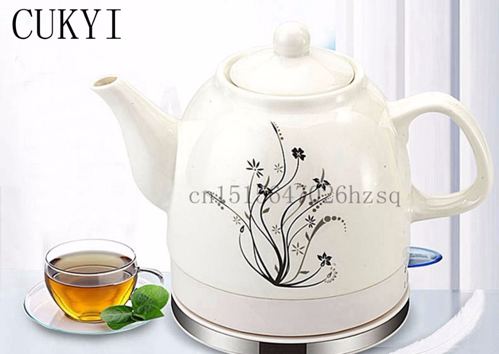 CUKYI 1.2L Electric Ceramic Tea Kettle with detachable base and boil dry protection kicthen tools Household health wholesale dual dutch piece suit yixing tea tray ceramic ru ding black dragon tea