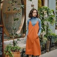 Для женщин ретро caramel leather Платье с хлястиками с длинным v образным вырезом ANNAKRO