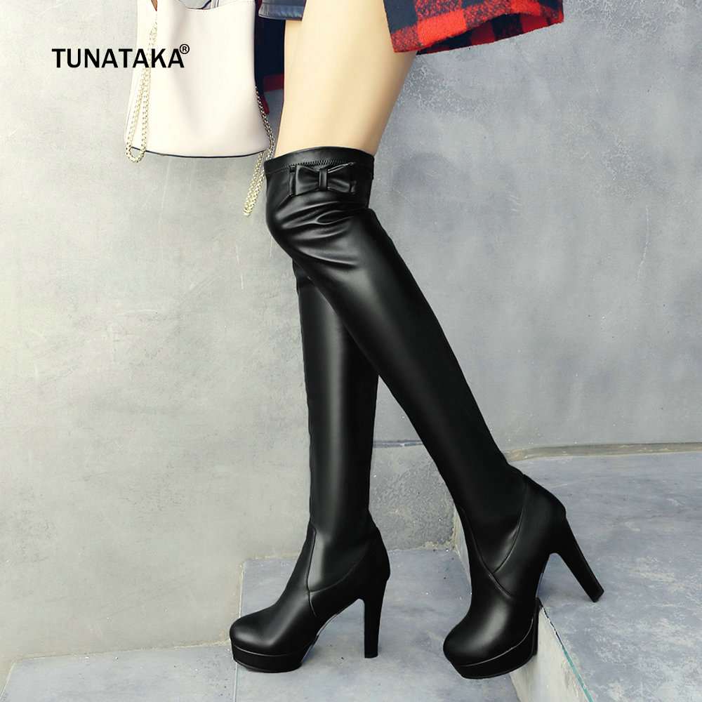 Womens Elasticity Pu Over the Knee Boots Platform Square High Heel Thigh Boots Bow Slip On Fall Winter Fashion Ladies Shoes