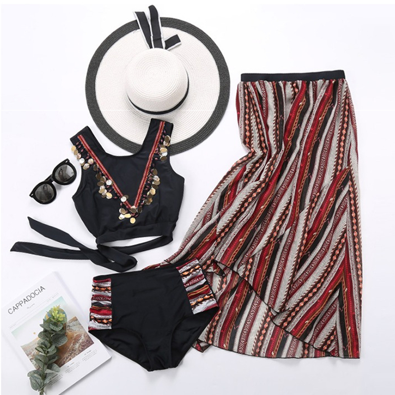 2018 Tankini Three Pieces Of Korean Version Hot Spring Small Chest Together Sexy Swimsuit Woman New Couple Male Beach Pants haisile 2015 new swimsuit korean spa small chest steel holder bikini three sets of 1525
