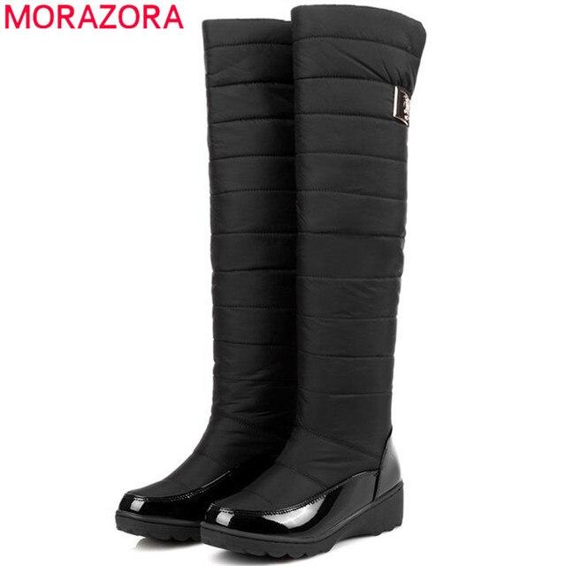 MORAZORA Plus Size 35-44 plataforma botas de neve sapatos de inverno sobre o joelho botas de pele grossa para baixo mulheres coxa botas de cano alto