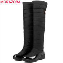 MORAZORA Plus size 35-44 snow boots platform winter shoes over the knee boots thick fur down women thigh high boots