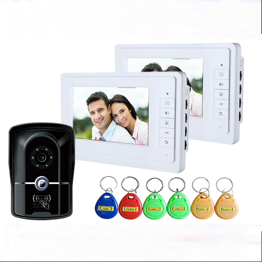 YobangSecurity 7 Wired Video Door Phone Doorbell Door Chime Intercom Entry System Kit with 1 Camera 2 Monitor Unlock RFID card YobangSecurity 7 Wired Video Door Phone Doorbell Door Chime Intercom Entry System Kit with 1 Camera 2 Monitor Unlock RFID card