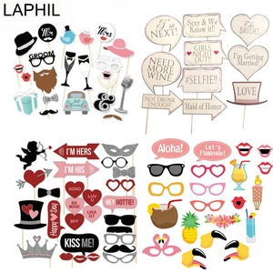 LAPHIL Mr Mrs Just Married Photo Booth Props Wedding Decoration Bridal Shower Bachelorette Party Supplies Photobooth Wedding(China)