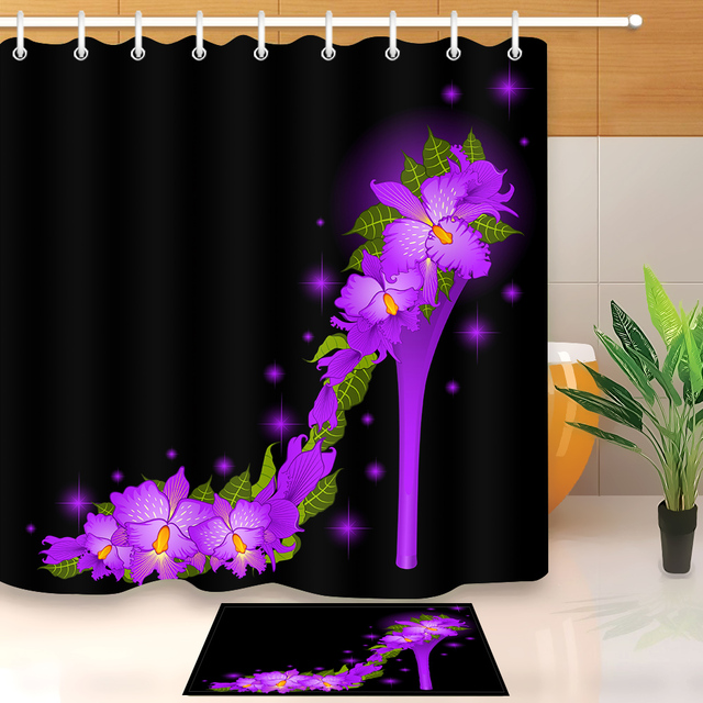 LB Custom Purple High Heel From Violet Orchids Black Shower Curtain Flower Bathroom Polyester Fabric For Bathtub Decor